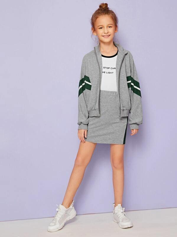 Girls Striped Heather Grey Sweatshirt And Skirt Set