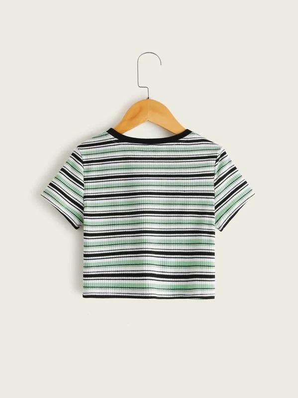 Girls Striped Rib-Knit Tee
