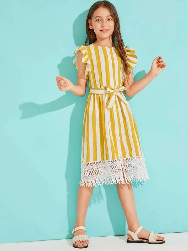 Girls Striped Ruffle Armhole Lace Hem Belted Dress