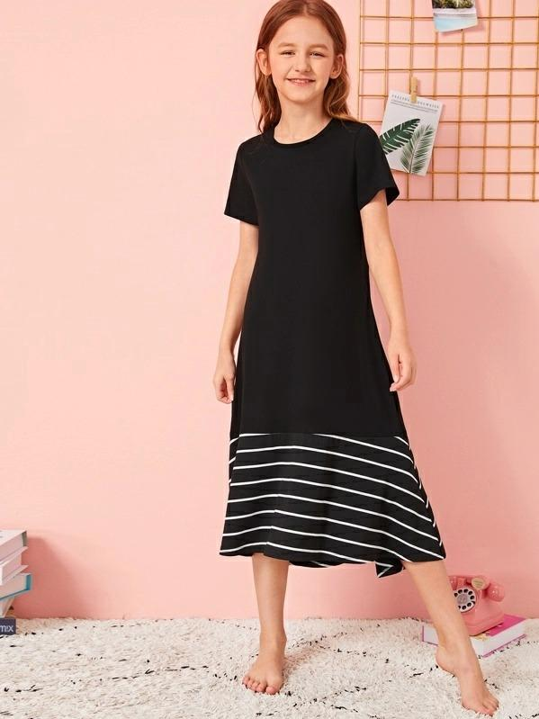 Girls Striped Ruffle Hem Nightdress
