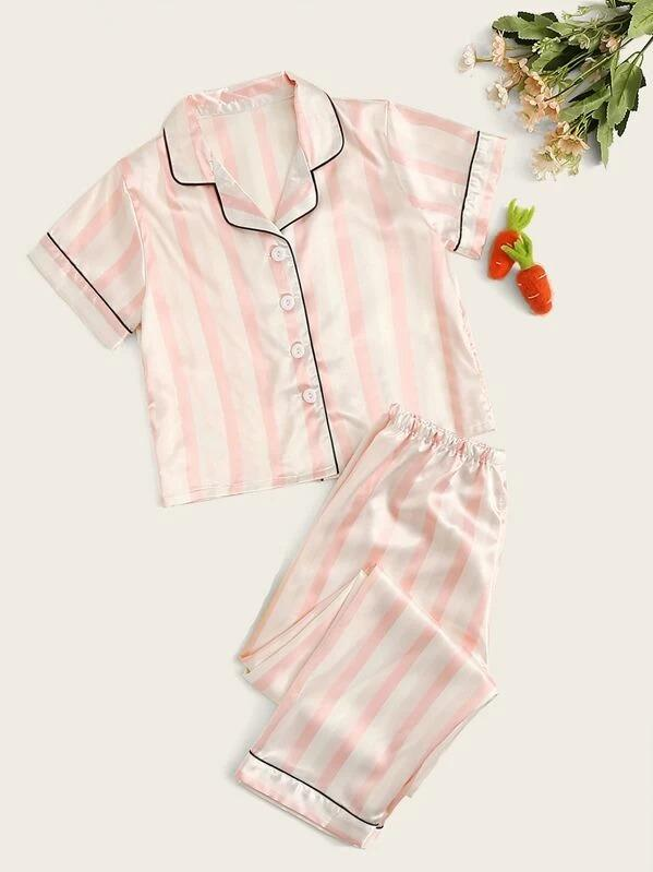 Girls Striped Satin Shirt & Pants PJ Set