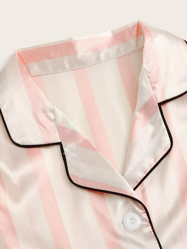 Girls Striped Satin Shirt & Shorts PJ Set