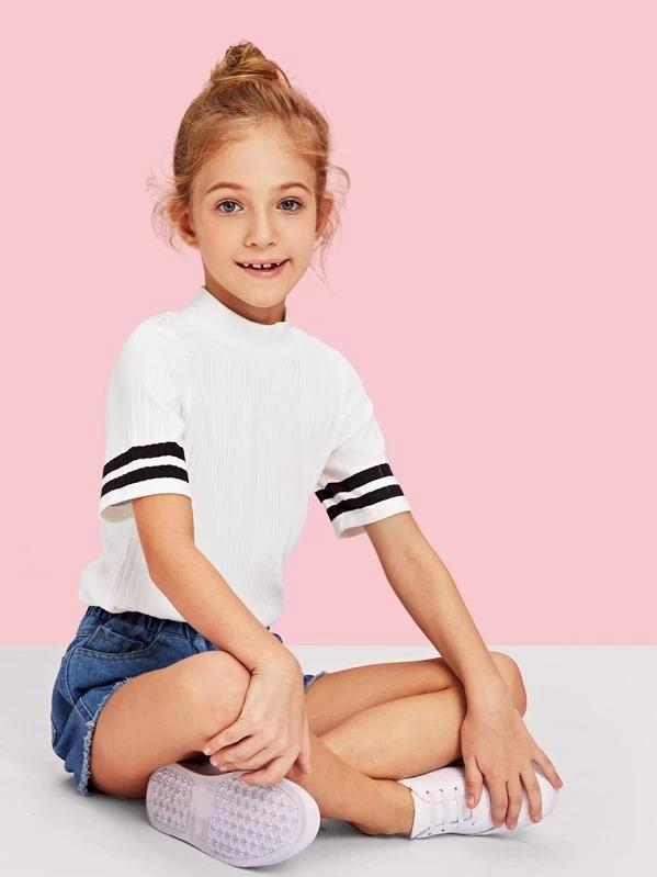 Girls Striped Sleeve High Neck Ribbed Tee