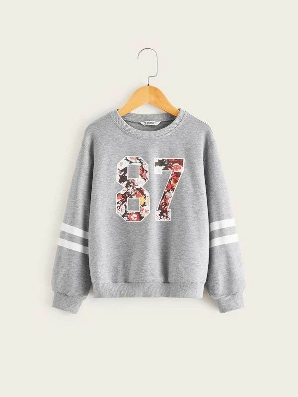 Girls Striped Sleeve Number Print Pullover