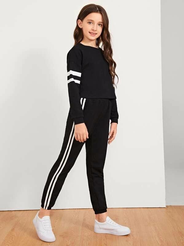 Girls Striped Sleeve Top & Pants Set