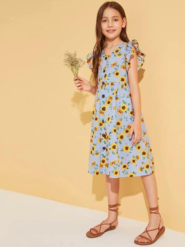 Girls Striped & Sunflower Ruffle Armhole Dress