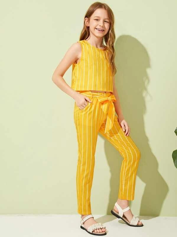 Girls Striped Tank Top & Belted Pants Set