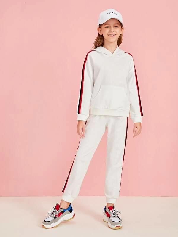 Girls Striped Tape Detail Hoodie & Sweatpants Set