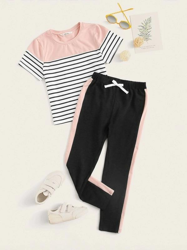 Girls Striped Tee And Contrast Sideseam Leggings Set
