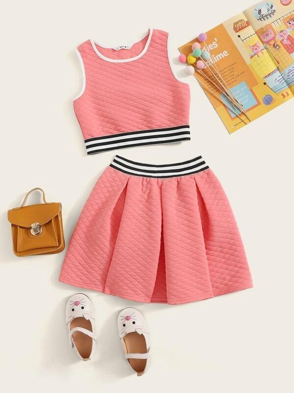 Girls Striped Textured Ringer Top And Boxy Pleated Skirt Set