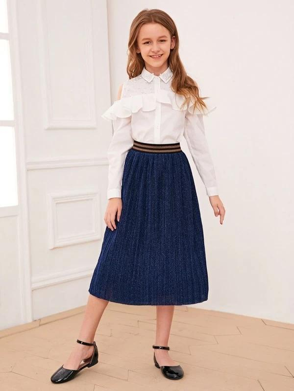 Girls Striped Waist Pleated Glitter Skirt