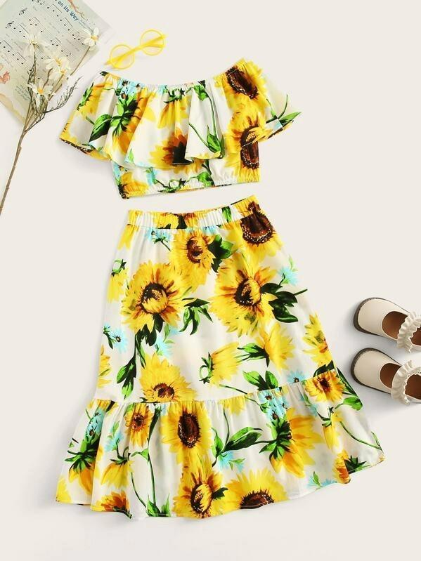 Girls Sunflower Foldover Bardot Top And Ruffle Skirt Set