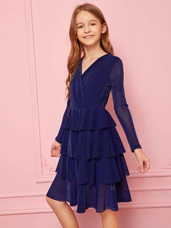 Girls Surplice Neck Layered Hem Glitter Dress Without Bag