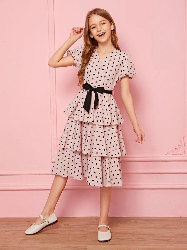 Girls Surplice Neck Puff Sleeve Layered Hem Dress