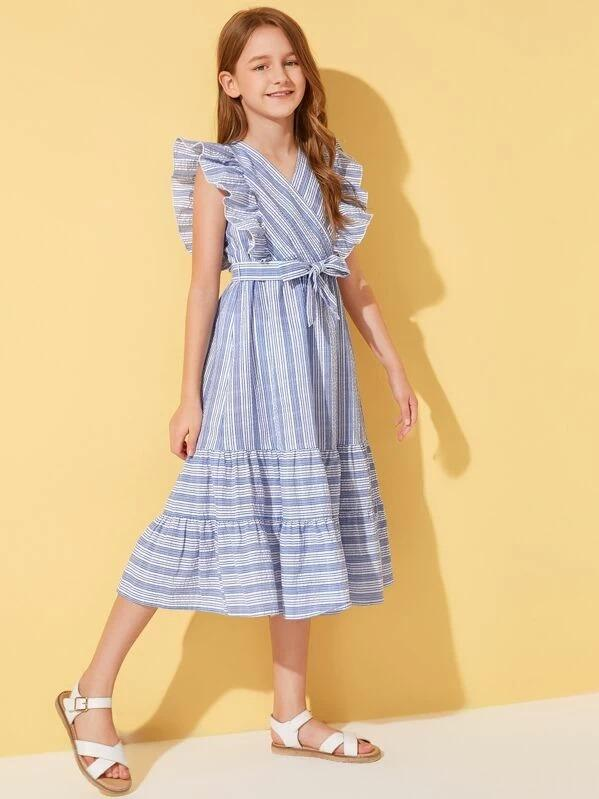 Girls Surplice Neck Ruffle Armhole Self Belted Striped Dress