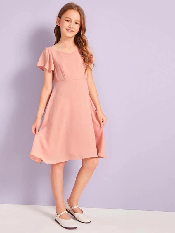 Girls Sweetheart Neck Flutter Sleeve Solid Dress