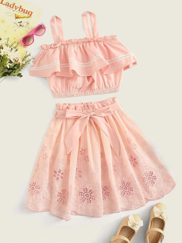 Girls Tank Top & Paperbag Waist Embroidery Eyelet Skirt Set
