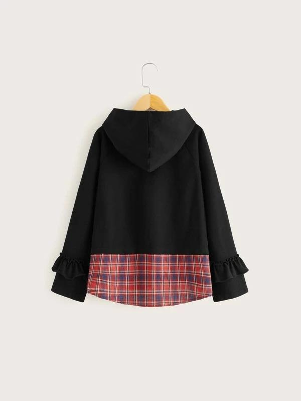 Girls Tartan Panel Frill Trim Raglan Sleeve 2 In 1 Hoodie