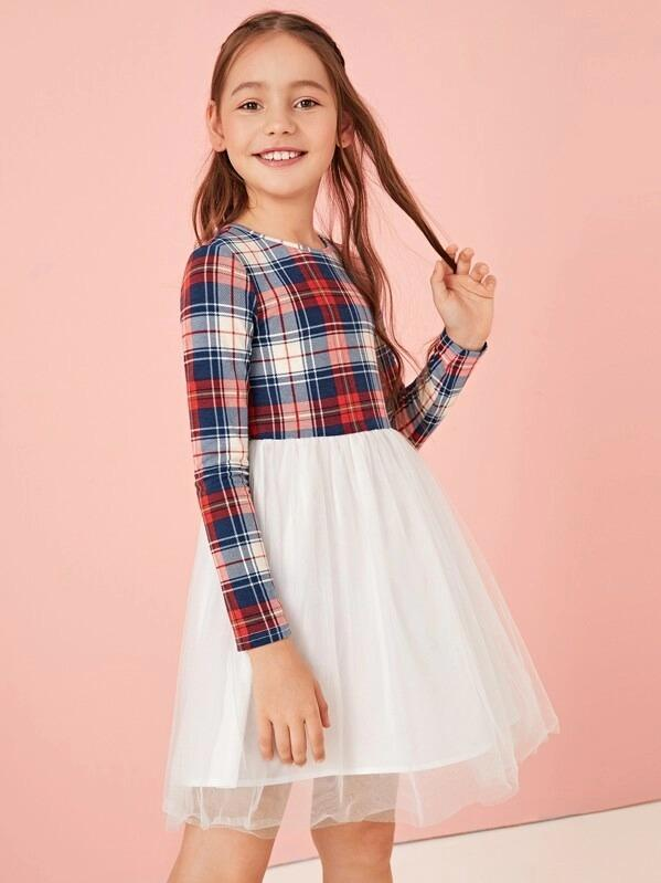 Girls Tartan Print Mesh Flare Combo Dress