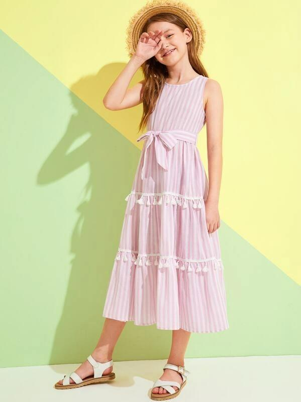 Girls Tassel Trim Belted Striped Dress