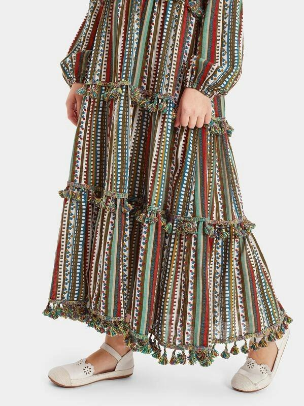 Girls Tassel Trim Tribal Print Maxi Dress