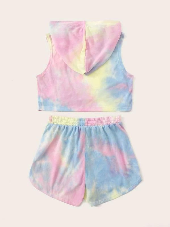 Girls Tie Dye Hoodie And Dolphin Shorts Set