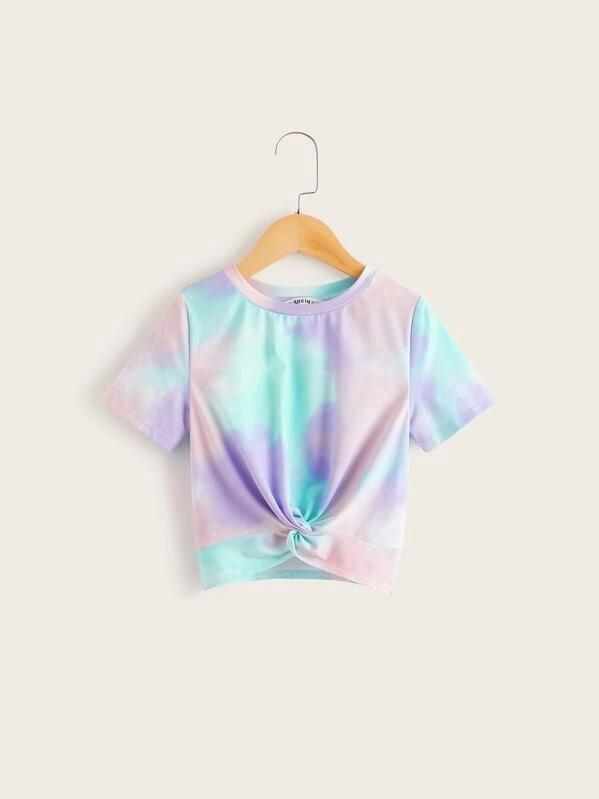 Girls Tie Dye Twist Hem Tee