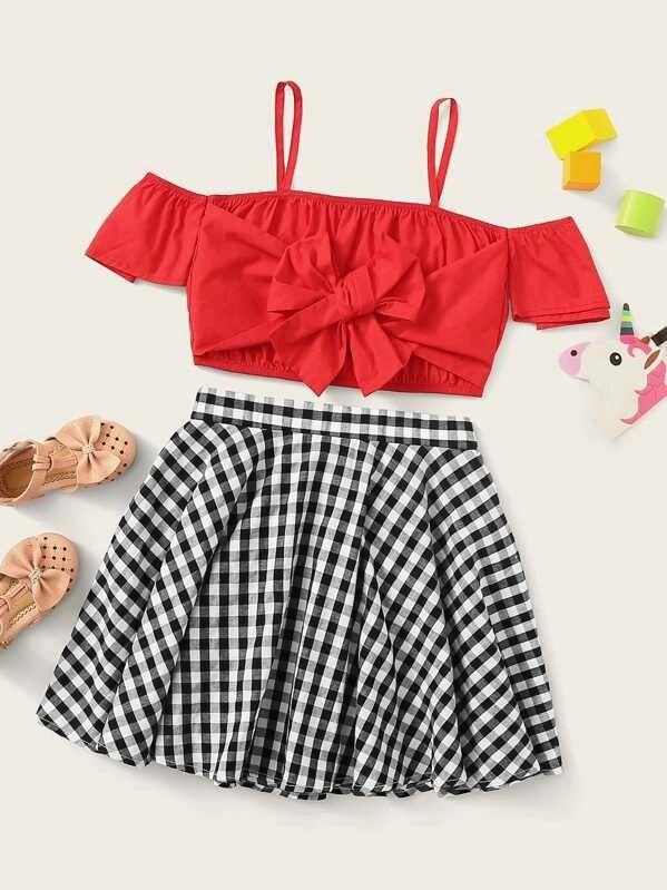 Girls Tie Front Cold Shoulder Top & Gingham Skirt Set
