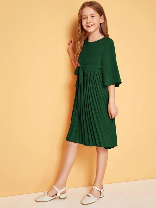 Girls Tie Front Pleated Dress
