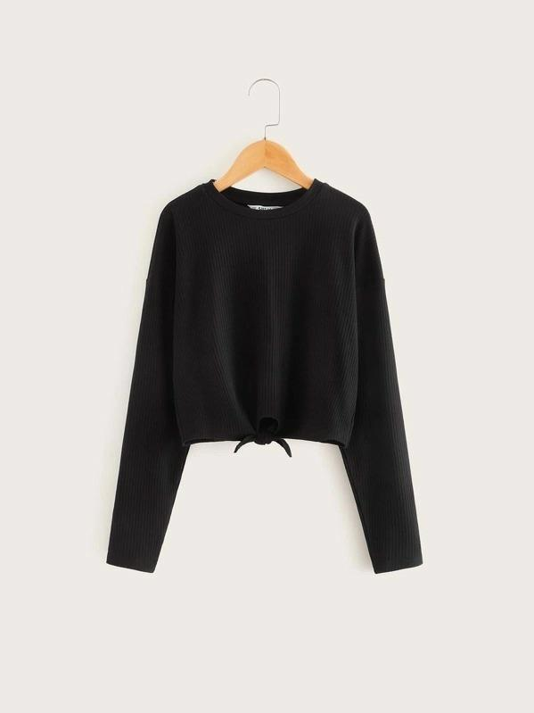 Girls Tie Hem Rib-Knit Tee