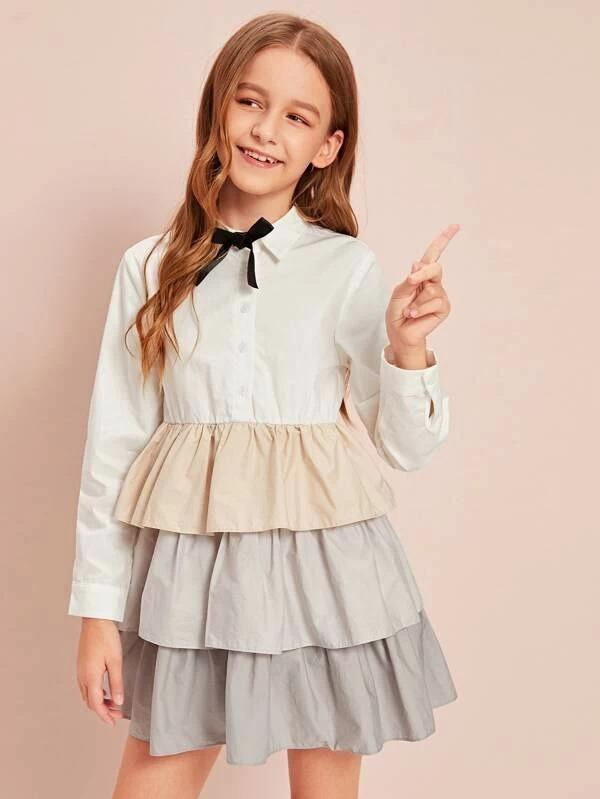 Girls Tie Neck Layered Ruffle Hem Dress