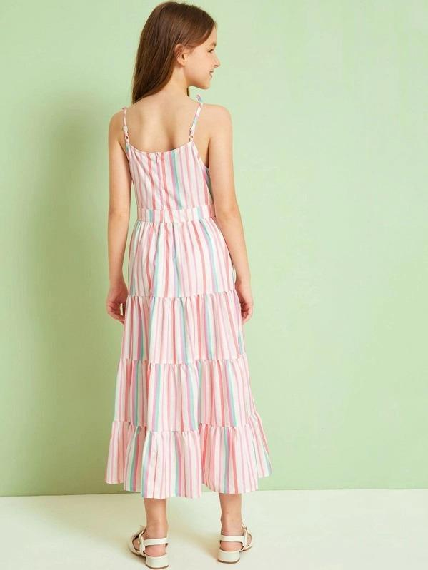 Girls Tiered Layer Striped Dress