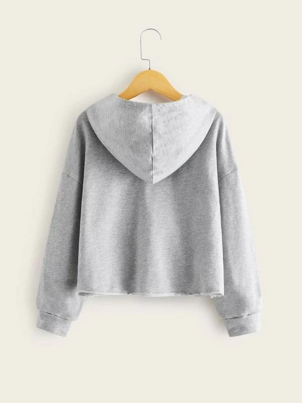Girls Tribal Pocket Patched Heather Grey Hoodie