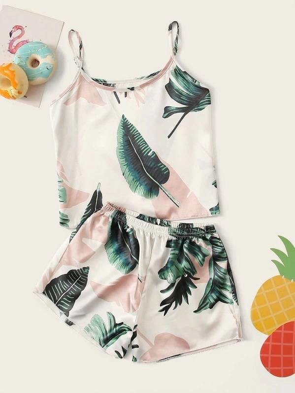 Girls Tropical Print Satin Cami PJ Set