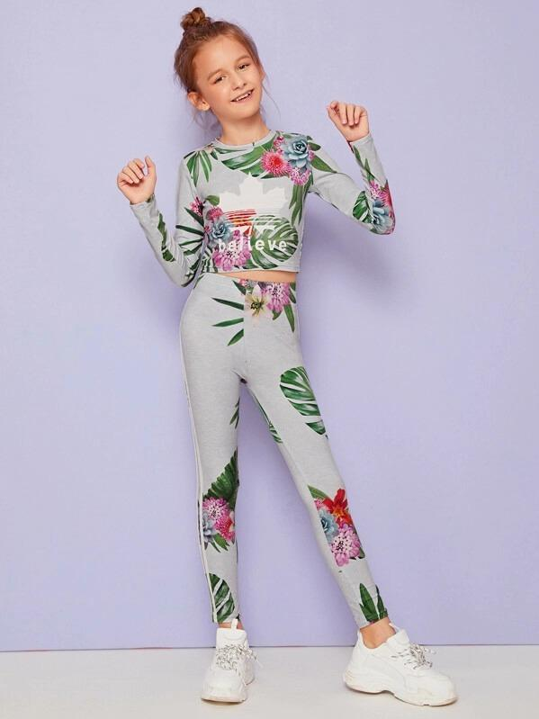 Girls Tropical Print Top & Striped Tape Side Leggings Set
