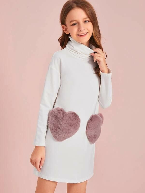 Girls Turtleneck Faux Fur Heart Pocket Dress