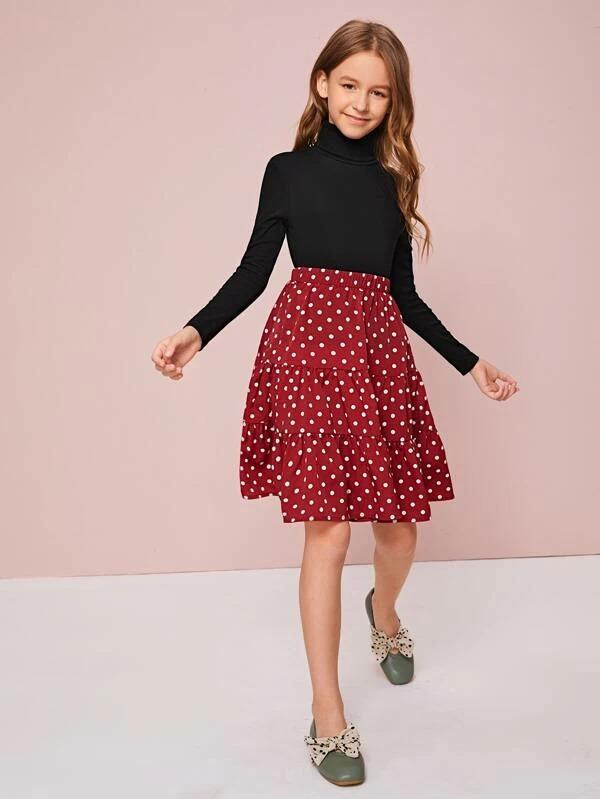 Girls Turtleneck Tee And Polka Dot Skirt Set