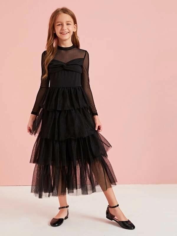 Girls Twist Bow Front Mesh Sweetheart Layered Dress