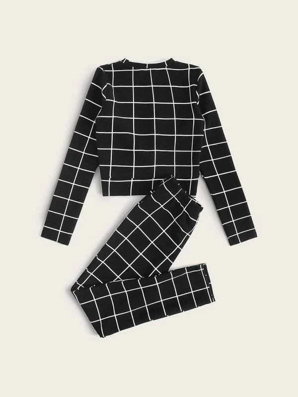 Girls Twist Front Grid Top & Pants Set