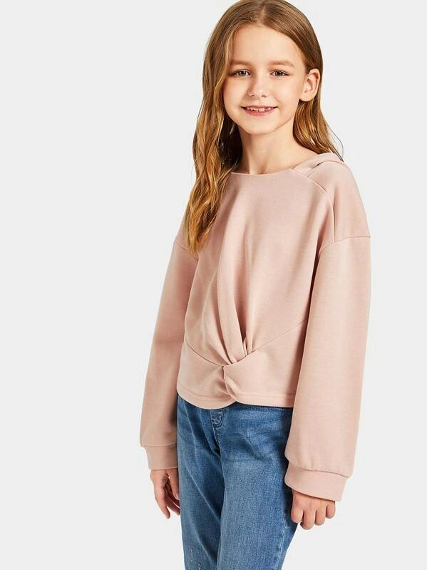 Girls Twist Hem Paneled Hoodie