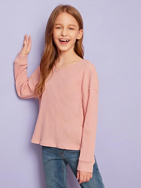Girls Twist Open Back Rib-Knit Tee