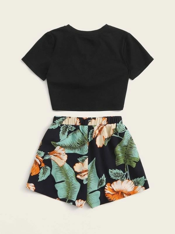 Girls Twist Wrap Top & Tropical Tie Front Shorts Set