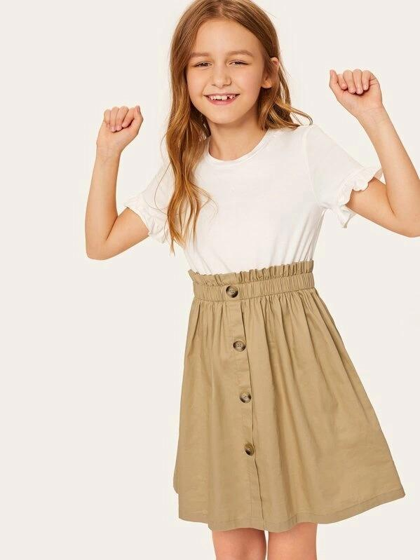 Girls Two Tone Ruffle Cuff Button Front Dress