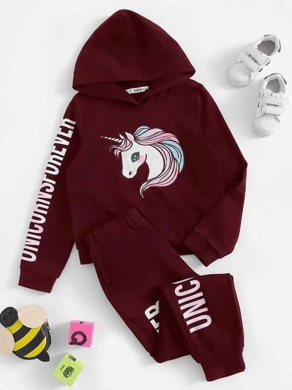 Girls Unicorn And Letter Graphic Hoodie & Pants Set