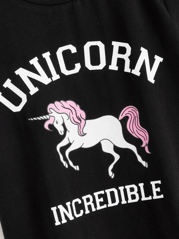 Girls Unicorn And Letter Print Tee
