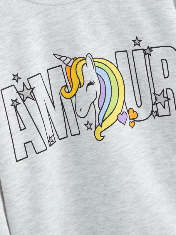 Girls Unicorn And Letter Sweatshirt