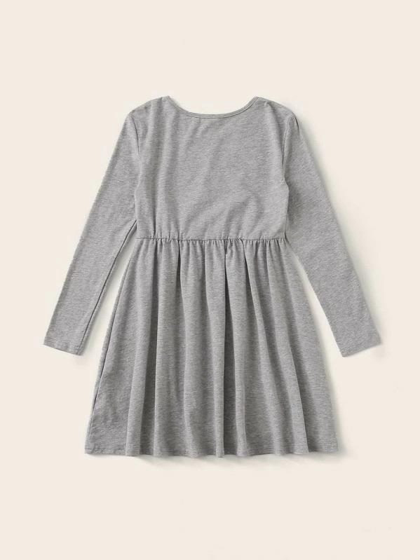 Girls Unicorn Print Heather Grey Dress