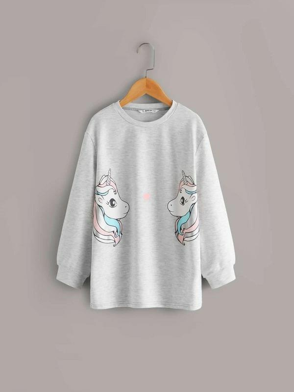 Girls Unicorn Print Pullover & Striped Side Pants Set