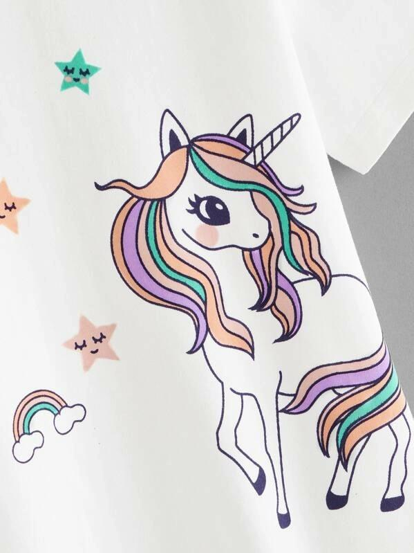 Girls Unicorns Graphic Pullover Tee