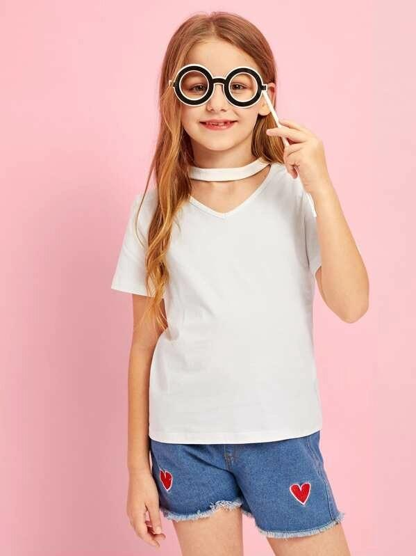 Girls V-Cut Neck Solid Tee